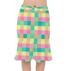 Checkerboard Pastel Squares Mermaid Skirt by Sapixe
