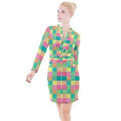 Checkerboard Pastel Squares Button Long Sleeve Dress by Sapixe