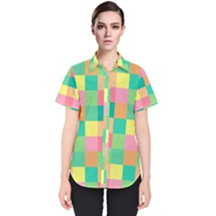 Checkerboard Pastel Squares Women s Short Sleeve Shirt
