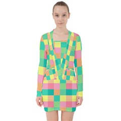 Checkerboard Pastel Squares V Neck Bodycon Long Sleeve Dress by Sapixe