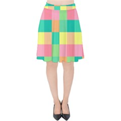 Checkerboard Pastel Squares Velvet High Waist Skirt by Sapixe