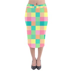 Checkerboard Pastel Squares Velvet Midi Pencil Skirt by Sapixe
