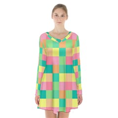 Checkerboard Pastel Squares Long Sleeve Velvet V-neck Dress