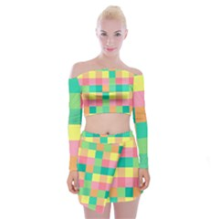 Checkerboard Pastel Squares Off Shoulder Top With Mini Skirt Set by Sapixe