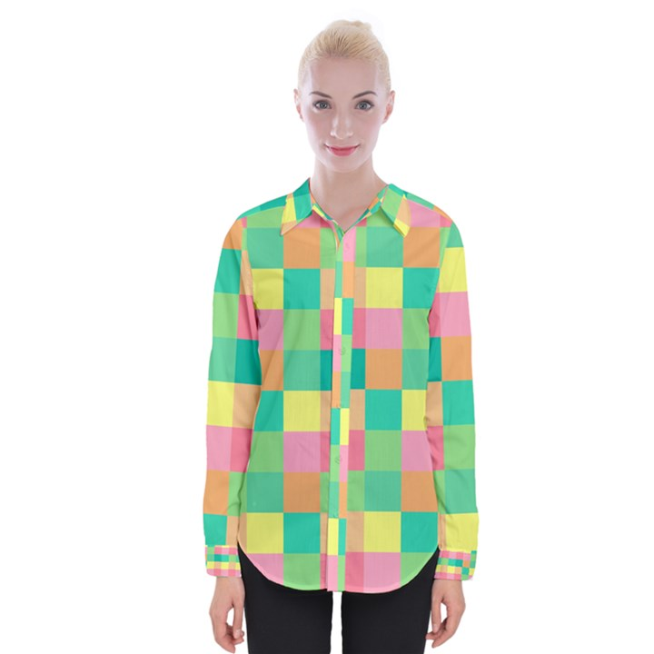 Checkerboard Pastel Squares Womens Long Sleeve Shirt