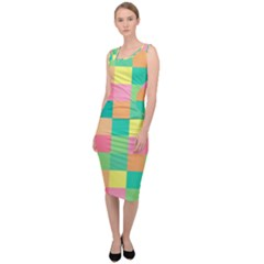 Checkerboard Pastel Squares Sleeveless Pencil Dress by Sapixe