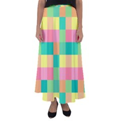 Checkerboard Pastel Squares Flared Maxi Skirt by Sapixe