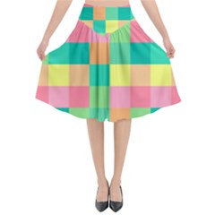 Checkerboard Pastel Squares Flared Midi Skirt by Sapixe