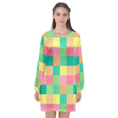 Checkerboard Pastel Squares Long Sleeve Chiffon Shift Dress