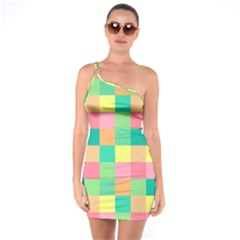 Checkerboard Pastel Squares One Soulder Bodycon Dress by Sapixe