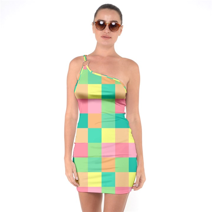 Checkerboard Pastel Squares One Soulder Bodycon Dress
