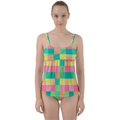 Checkerboard Pastel Squares Twist Front Tankini Set by Sapixe