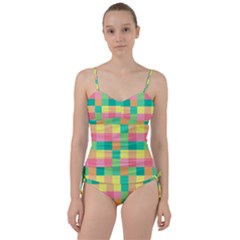 Checkerboard Pastel Squares Sweetheart Tankini Set by Sapixe