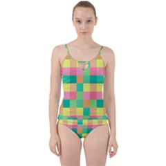 Checkerboard Pastel Squares Cut Out Top Tankini Set by Sapixe