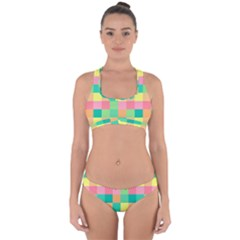Checkerboard Pastel Squares Cross Back Hipster Bikini Set by Sapixe