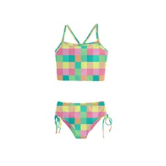 Checkerboard Pastel Squares Girls  Tankini Swimsuit by Sapixe