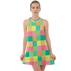 Checkerboard Pastel Squares Halter Tie Back Chiffon Dress by Sapixe