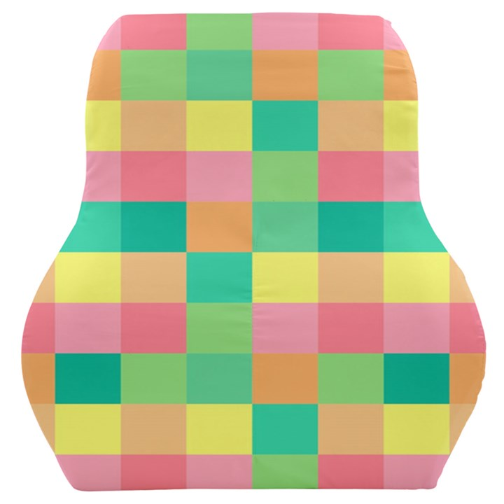Checkerboard Pastel Squares Car Seat Back Cushion