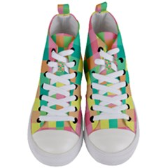 Checkerboard Pastel Squares Women s Mid Top Canvas Sneakers