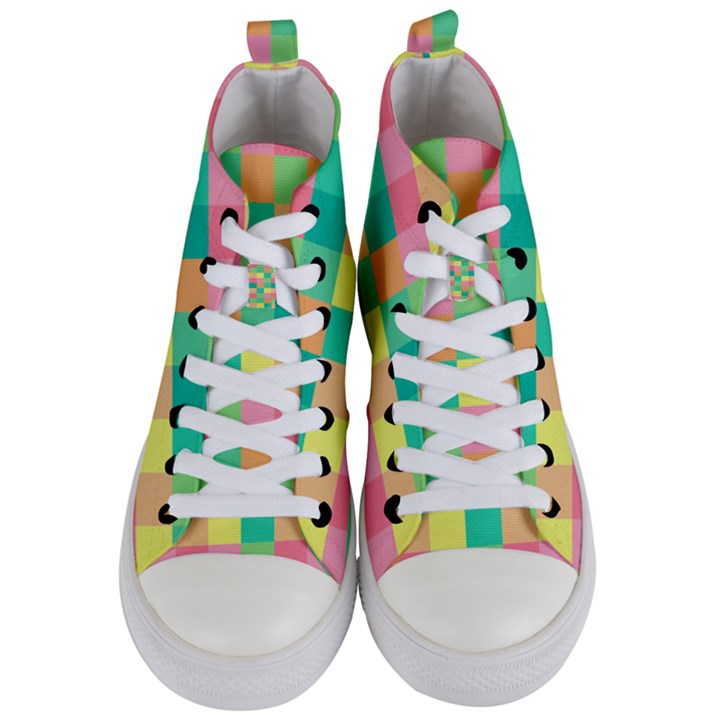 Checkerboard Pastel Squares Women s Mid-Top Canvas Sneakers