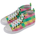 Checkerboard Pastel Squares Women s Mid-Top Canvas Sneakers View2
