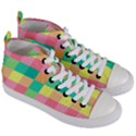 Checkerboard Pastel Squares Women s Mid-Top Canvas Sneakers View3