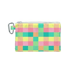 Checkerboard Pastel Squares Canvas Cosmetic Bag (small) by Sapixe