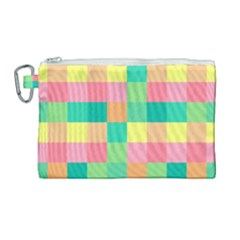 Checkerboard Pastel Squares Canvas Cosmetic Bag (large)