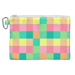 Checkerboard Pastel Squares Canvas Cosmetic Bag (xl)