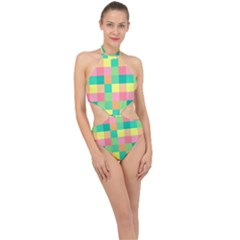 Checkerboard Pastel Squares Halter Side Cut Swimsuit