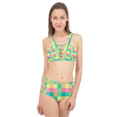 Checkerboard Pastel Squares Cage Up Bikini Set