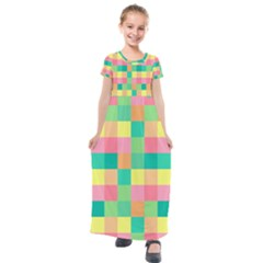 Checkerboard Pastel Squares Kids  Short Sleeve Maxi Dress