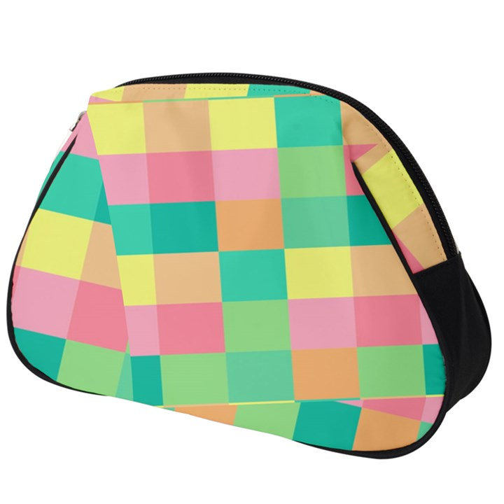 Checkerboard Pastel Squares Full Print Accessory Pouch (Big)