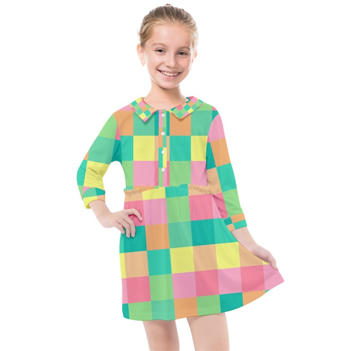 Checkerboard Pastel Squares Kids  Quarter Sleeve Shirt Dress
