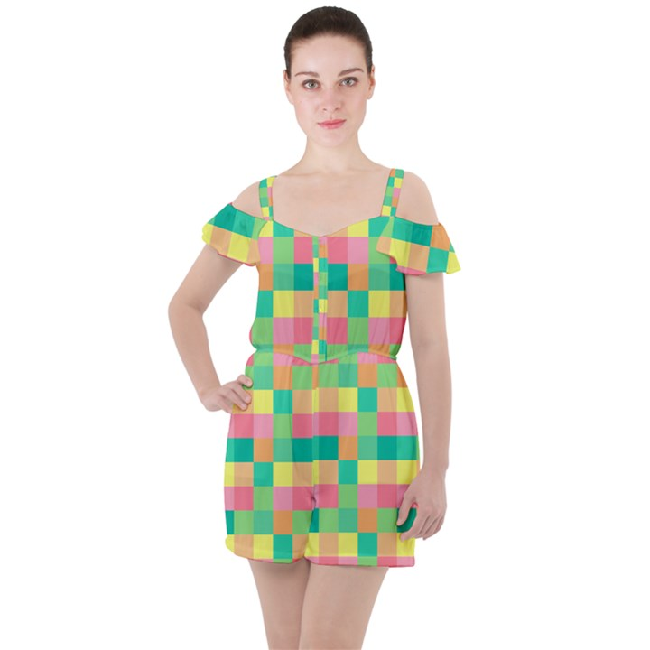 Checkerboard Pastel Squares Ruffle Cut Out Chiffon Playsuit
