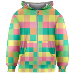 Checkerboard Pastel Squares Kids  Zipper Hoodie Without Drawstring