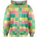 Checkerboard Pastel Squares Kids  Zipper Hoodie Without Drawstring View1