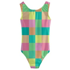 Checkerboard Pastel Squares Kids  Cut Out Back One Piece Swimsuit