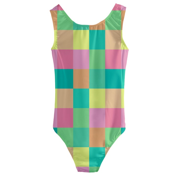 Checkerboard Pastel Squares Kids  Cut-Out Back One Piece Swimsuit
