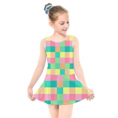 Checkerboard Pastel Squares Kids  Skater Dress Swimsuit