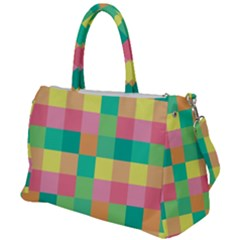 Checkerboard Pastel Squares Duffel Travel Bag