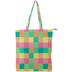 Checkerboard Pastel Squares Double Zip Up Tote Bag by Sapixe