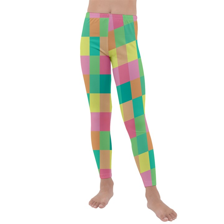 Checkerboard Pastel Squares Kids  Lightweight Velour Leggings