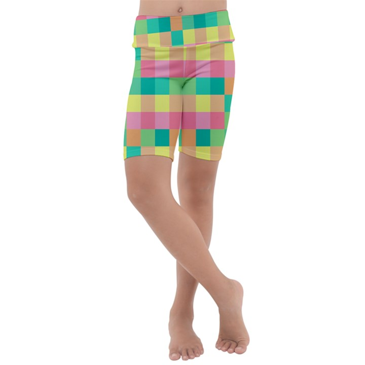 Checkerboard Pastel Squares Kids  Lightweight Velour Cropped Yoga Leggings