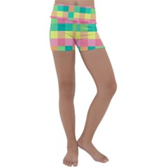 Checkerboard Pastel Squares Kids  Lightweight Velour Yoga Shorts