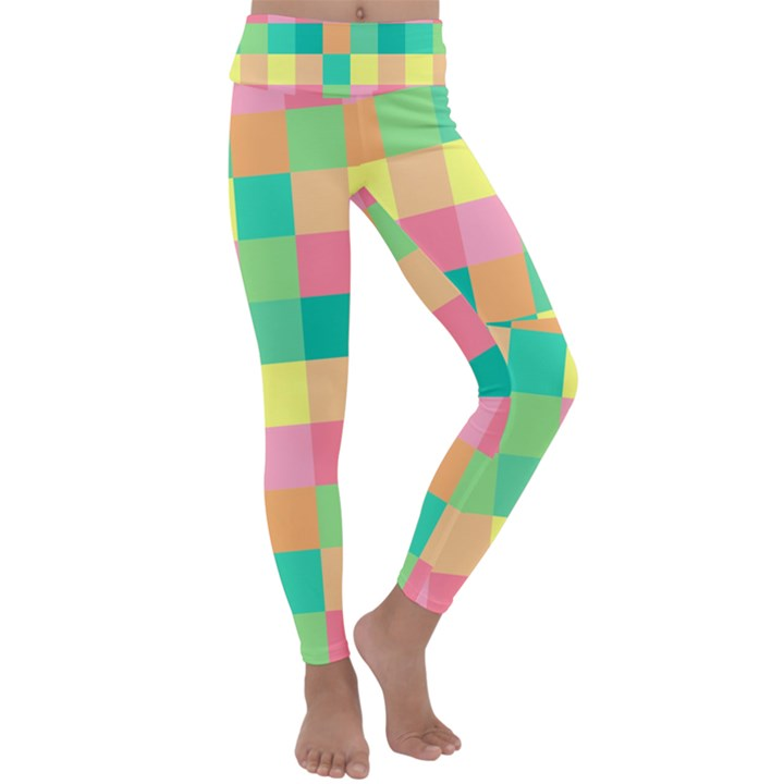Checkerboard Pastel Squares Kids  Lightweight Velour Classic Yoga Leggings