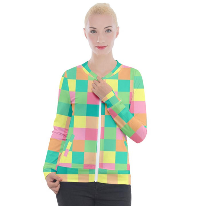Checkerboard Pastel Squares Casual Zip Up Jacket
