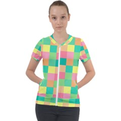 Checkerboard Pastel Squares Short Sleeve Zip Up Jacket