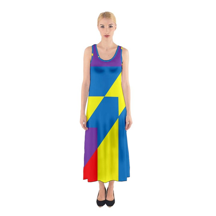 Colorful Red Yellow Blue Purple Sleeveless Maxi Dress