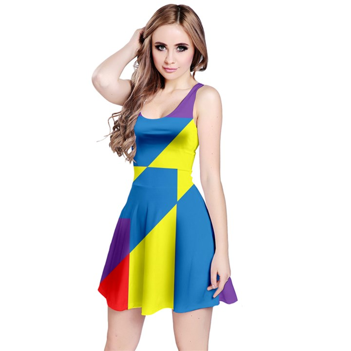 Colorful Red Yellow Blue Purple Reversible Sleeveless Dress